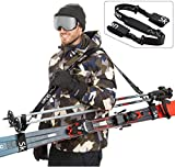 Sklon Ski Strap and Pole Carrier   Avoid The Struggle and Effortlessly Transport Your Ski Gear Everywhere You Go   Features Cushioned Shoulder Sling   Great for Families - Men, Women and Kids - Black