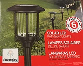 Smartyard Solar Warm White LED Pathway Lights Pack of 6 | 6 Lumens/Light | Powder Coated Oil Rubbed Bronze Finish