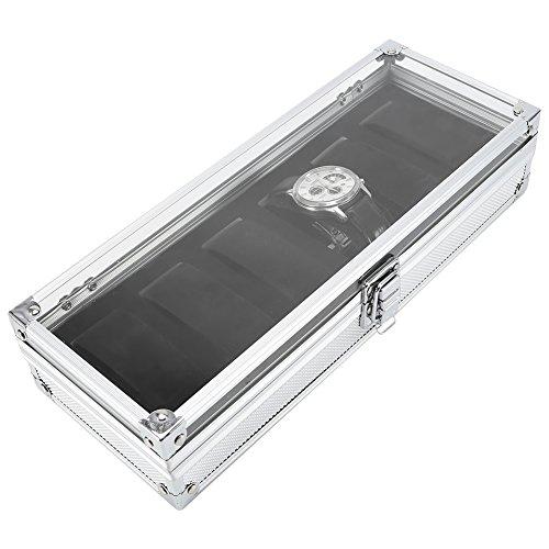 aluminum Watch box nastro di colore orologio Storage Case Home organizzazione orologio decorazione di, Silver, 6 grids