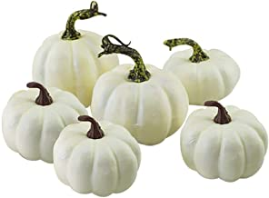 Fan-Ling Halloween Harvest White Artificial Pumpkins Fall Thanksgiving Decor,Simulation Fake Lifelike Props, Garden Home Decor,Halloween Props,Reliable and Non-Toxic (12)