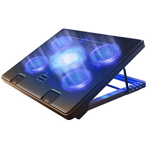 "Kootek Laptop Cooling Pad 12""-17"" Cooler Pad Chill Mat 5 Quiet Fans LED Lights and 2 USB 2.0 Ports Adjustable Mounts Laptop Stand Height Angle, Blue"
