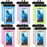 12 Pieces Waterproof Phone Pouch Transparent Waterproof Mobile Phone Case with Lanyard Universal PVC Phone Bag Dry Bag for Outdoor Water Sports Boating Hiking Fishing Swimming (Multi Color)