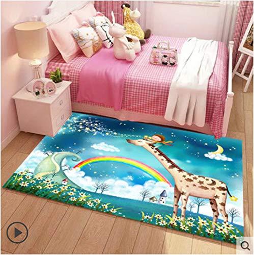 Tapijt Cartoon Regenboog Giraf Babyjongen Kleine Kinderen Slaapkamer Schattig Nachtkastje Prinses Kamermatten…
