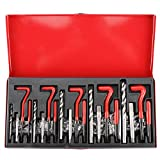 FreeTec 131 Piezas Kits de Reparación de Roscas, M5/6/8/10/12 Herramientas Interior para Reparación de Roscas para Automóvil