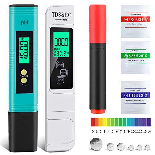 NAOLIU Testeur PH,TDS Testeur,Ensemble Multifonctionnel Portable 5 en 1,PH Mètre Numérique avec ATC,TDS & EC Mètre avec écran LCD, Testeur de qualité de l'eau pour TDS PH EC Temperature Minéraux