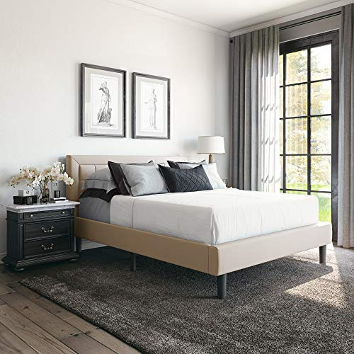 Classic Brands Mornington Upholstered Platform Bed | Headboard and Metal Frame with Wood Slat Support, Queen, Linen