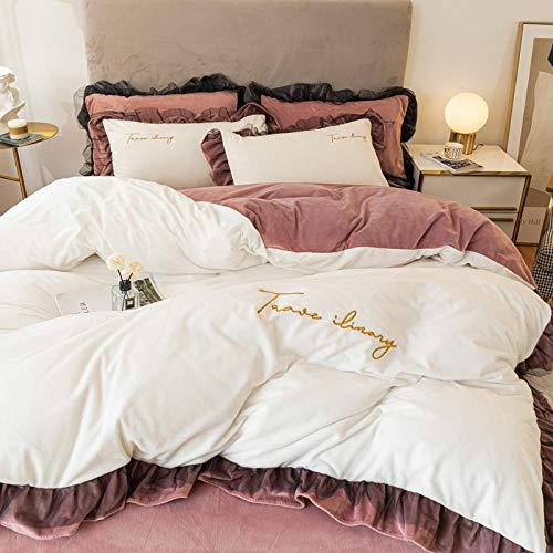 funda nordica cama 150 gris-Funda nórdica de lana de doble cara de invierno hoja de franela cama de lana de cristal cama de lana gruesa funda de almohada de regalo-F_Cama de 2,0 m (4 piezas)