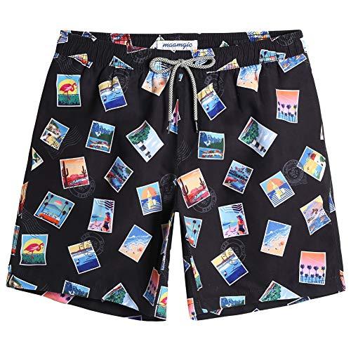 MaaMgic Bañador Hombre Shorts de Baño para Hombre Shorts de Playa Traje de Bañode Secado Rápido para Vacaciones 2021,Sello-Negro,L