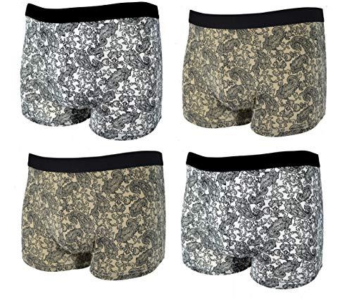 4 Stück Boxer Boxers Unterhose 2x silber 2x bronze Gr. 6/L • grosse Blumen Lava enge boxershorts grau boxershorts mikrofader geblümte unterhose retropants herren weiß retropants unterhosen männer