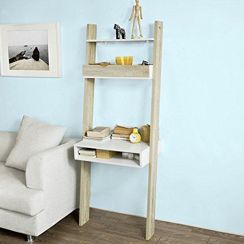 SoBuy® FRG111-WN, Ladder Shelf Wall Shelf Storage Display Shelving Unit with Drawer & Desk...