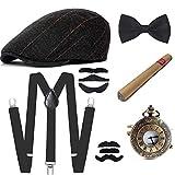 E EBETA 1920s Jahre Herren Accessoires Zubehör Set Flapper Mafia Gatsby Kostüm Set Inklusive Panamahut Verstellbar Y-Back-Hosenträger Fliege Taschenuhr und Plastik Zigarre (D) -