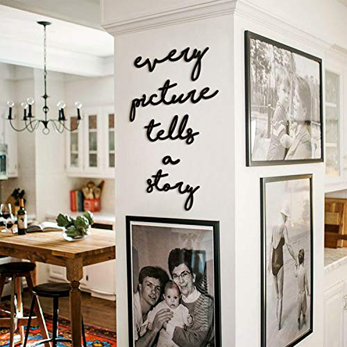 Hoagard Metal Wall Art - Decoración minimalista para pared - Every Picture Tells A Story - Para salones y comedores modernos - Metal - Negro