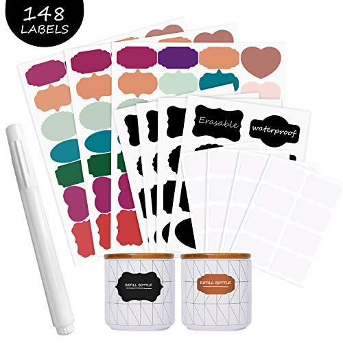 Pegatinas reutilizables para etiquetas de pizarra, autoadhesivas, 148 pegatinas impermeables de colores, etiquetas adhesivas removibles, perfectas para el hogar y la oficina