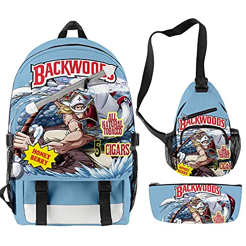 One Piece Anime - Mochila infantil (3 piezas, incluye mochila principal + bolso bandolera + estuche para lápices), 3 Set3, 28x17x42cm,