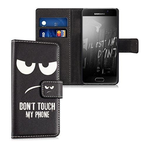 kwmobile Hülle kompatibel mit Samsung Galaxy A3 (2016) - Kunstleder Wallet Case mit Kartenfächern Stand Don't Touch My Phone Weiß Schwarz