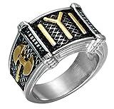 AccessCube Kayi Obasi Flagge Osmanisches Reich Ring Edelstahl Ring Ork Axt Osmanen Siegel Kayi Ertugrul Ring (10, Schwarz/Silber)