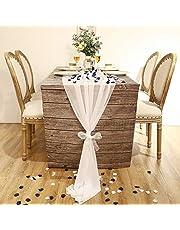 10 Pi Chemin de Table en Mousseline de Soie Blanc 29 x 122 Pouces Chemin de Mariage Romantique avec 200 Pièces Pétales de Rose en Soie, Bleu et Blanc pour Table de Mariage Pièce Maîtresse d'Allée