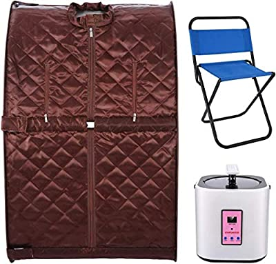 KGK Portable Home Spa, Personal Steam Sauna, 2L Folding Steam Sauna Room One Person Sauna for Weight Loss Detox with Chair, Remote Control, Steam Pot, Foot Mat