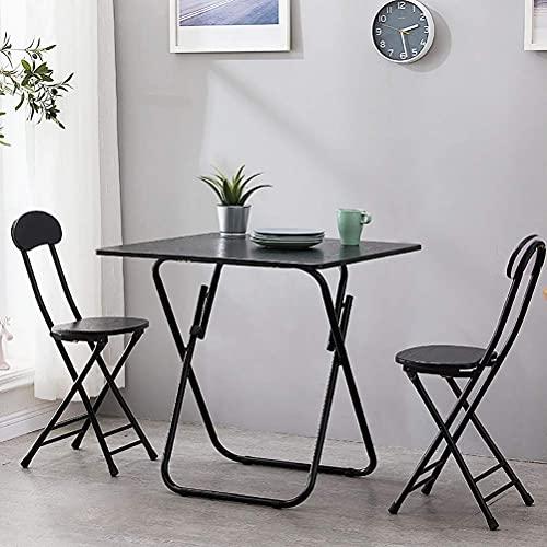 Daily Accessories - Juego de 3 muebles de comedor plegables para patio con 2 sillas de metal