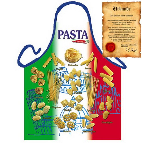 Veri Italienisch Kochen - la Cucina Italiana Grembiule: Nudelsorten Pasta-Tricolore - Geschenke Kochschürze mediterrane Küche one Size, bunt mit gratis Urkunde :
