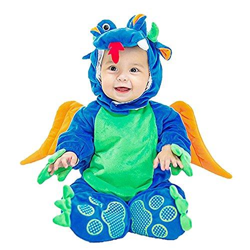 Lazzboy Kostüm Baby Halloween Tierkostüm mit Kapuze Body Footies Strampler Strampler Outfit(Höhe 66,Blau)