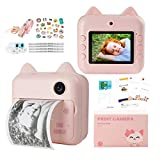 QuTZ Kids Instant Camera Video Selfie Photo Shooting Digital Camera for Toddlers 16GB SD Card Included 13 Selfie Cartoon Frames Cellphone Photo Printing Portable Lanyard Rechargeable Pink
