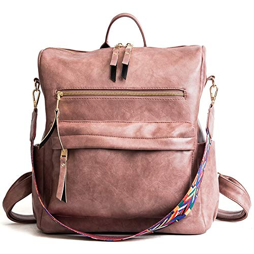 Yi-xir fashion design retrò in pelle zaino zaino borse spalla donna borsa da viaggio moda per distaff leggero e durevole (colore rosa, dimensioni: 30 * 32 * 14 cm)