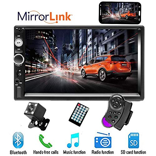 "CAMECHO 7"" Double Din Car Stereo Audio Bluetooth MP5 Player USB FM Multimedia Radio+ 4 LED Mini Backup Camera with Steering Wheel Remote Support Mobile Phone Synchronization (Used in Android/iOS)"