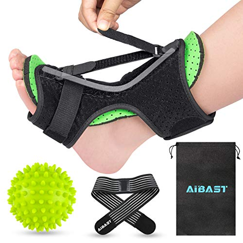 AiBast Plantar Fasciitis Night Splint, 2020 New Upgraded Green Multi Adjustable Ankle Brace Foot Drop Orthotic Brace for Plantar Fasciitis, Arch Foot Pain, Achilles Tendonitis Support for Women , Men