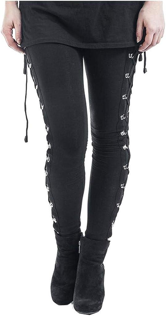 JPLZi Women's Sexy Black Satin Side Lacing Solid Pants Long Bodycon High Waist Bandage Slim Tie Dye Gothic Punk Leggings