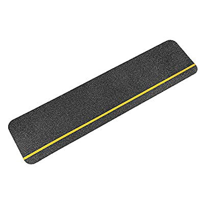 "Black Anti Slip Stair Treads Non Skid 60 Grit Safety Tape with Stripe 6"" X 24"""