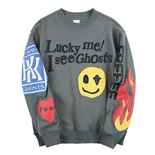 Travis Scott Kanye Lucky me I See Ghosts Sweatshirts Sweater (Grün, Large)