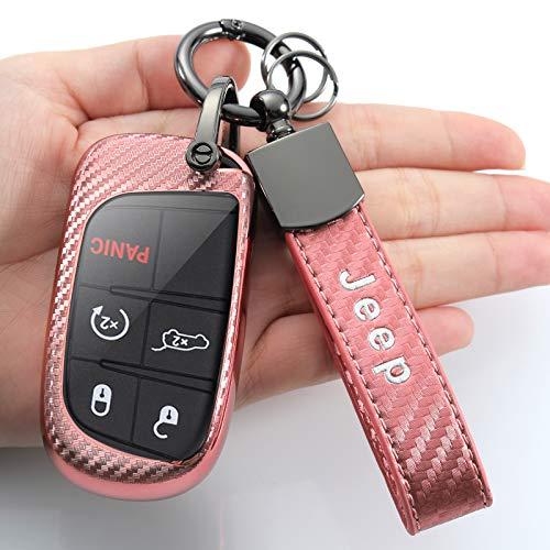 Schlüsselanhänger-Hülle für Jeep Grand Cherokee Wrangler Compass Cherokee Renegade Patriot Grand Comander 3 4 5 Tasten Schutz pink