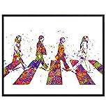 The Beatles Poster, Wall Art - 8x10 Abbey Road Home Decor - Beatles Gifts for John Lennon, Paul McCartney, Ringo Starr, George Harrison, 60s Music Fans