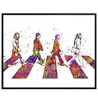 The Beatles Poster Wall Art - 8x10 Abbey Road Home Decor - Beatles Gifts for John Lennon Paul McCartney Ringo Starr George Harrison 60s Music Fans