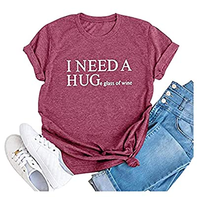 Womens I Need A Huge Glass of Wine Letters Print Short Sleeve T-Shirt Casual Graphics Tees Teen Girls Pullover Tops