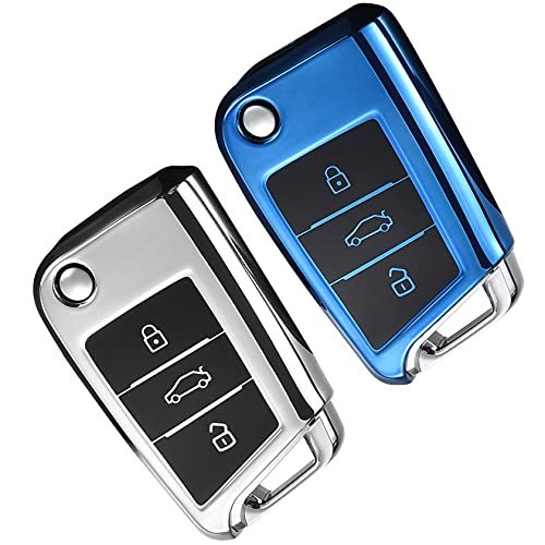 Yosemy Autoschlüssel Hülle 2 Stück Schlüssel Hülle VW Golf 7 MK7 Polo Seat Skoda TPU Schlüsselhülle Cover 3 Tasten Auto Schlüssel Cover (Silber+Blau)