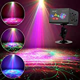 SUNY DJ Laser Light 80 RGB Multiple Patterns Party Laser Show Lighting w/LED Galaxy Ripple Wave Effects Sound Activated Gobo Projector for Disco Dances Club House Xmas Decor