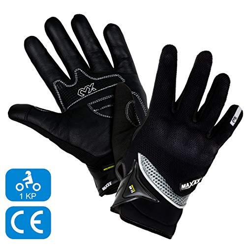 MAXAX Gants Moto Motocross Scooter Homologués CE Gant Tactile Respirable Homologué 1KP Norme Européenne CE - En Cuir Et Textile - Confortable et de Qualité - Unisexe et Mi-saison - Taille S