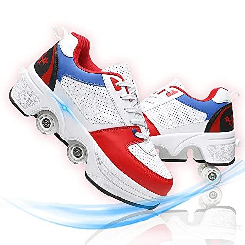 HealHeaters Niños Niñas Moda Aire Libre Ajustable Rueda Roller Automática De Skate Zapatillas con Ruedas Zapatos Patines Deportes Zapatos Sneakers Running Shoes para Unisex