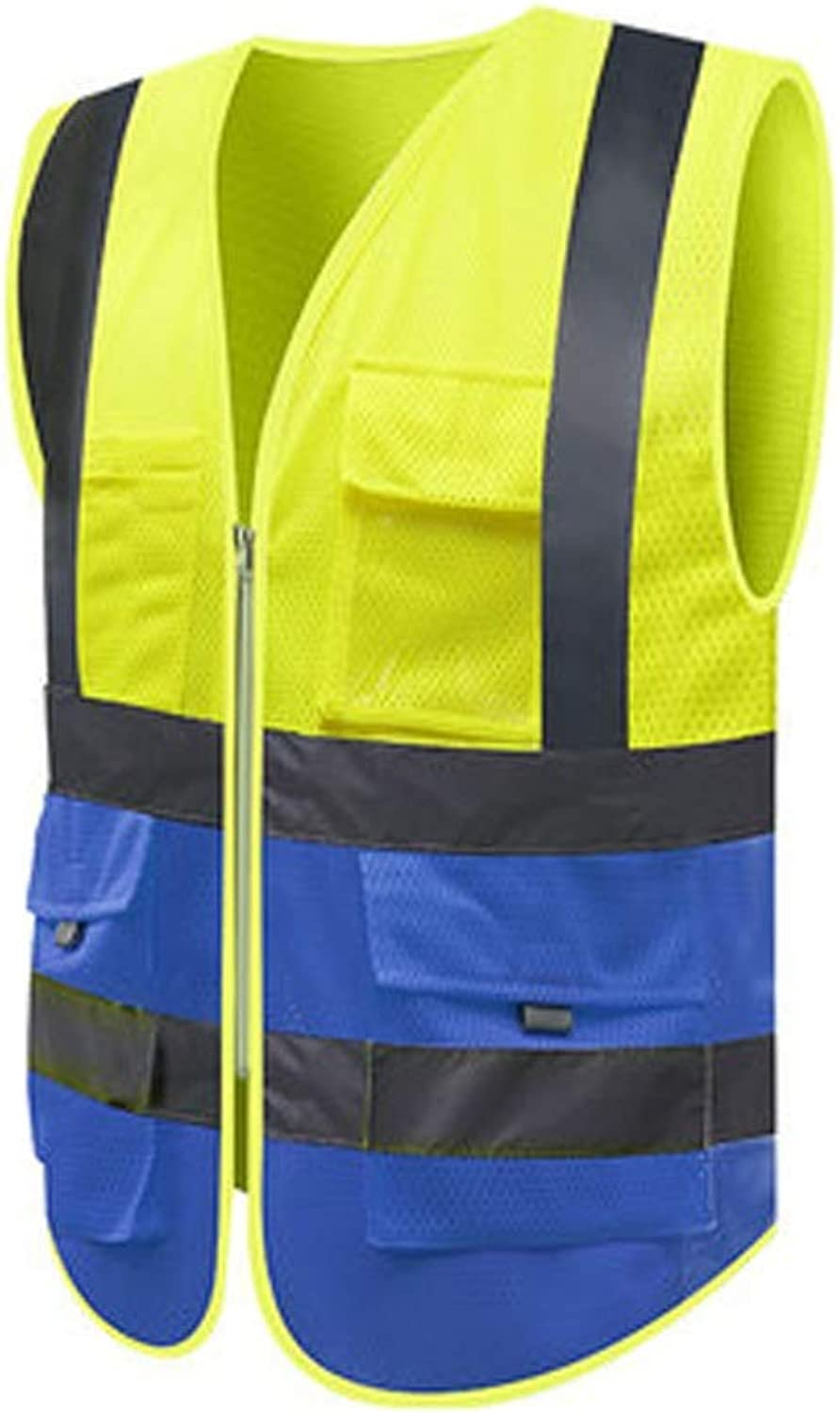 LXYFMS Reflective Vest with Pockets and Zipper for High Visibility and Bright colors Safety Vest (color   A, Size   XL)