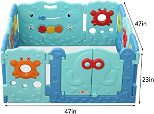 Baby Playpen With Suction Cup Kids Activity Centre Removable Safety Play Yard For Home Indoor Outdoor Infant Toddlers Babies Products  Size panel