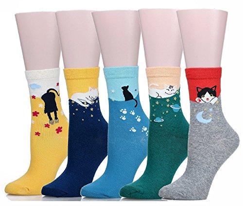 Calcetines SoxEra de algodón, cómodos, con diseños de gatos, para mujer. Pack de5unidades Cat Talla única