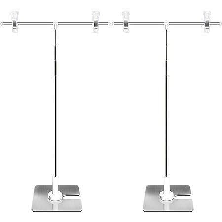 2個セット ポップスタンド 卓上 T型 POPスタンド 長さ調節可能 軽量 簡単収納 組み立て式 販促用