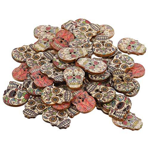 VORCOOL 100 Piezas de Botones de Calaveras de Azúcar de Halloween 2 Agujeros Botones de Madera para Coser Ropa DIY Suministros de Costura para Manualidades (Estilos Mixtos)