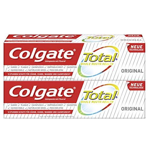 Colgate Total Zahnpasta Original, Doppelpack (2 x 75 ml) - Zahncreme gegen Karies und Plaque. Schützt den Zahnschmelz