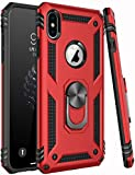 iPhone X Case,iPhone Xs Case,ZADORN 15ft Drop Tested,Military Grade Heavy Duty Protective Cover with Kickstand Silicone TPU Phone Case for iPhone X/iPhone Xs Red