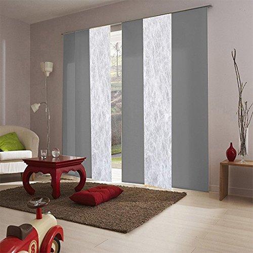 MADECO Panel japonés Tamiante, Láminas lisas, Color Gris Pimienta, 45 x 260 cm