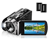 Video Camera Camcorder for YouTube Vlogging Digital Camera Full HD 1080P 24MP Camcorder Webcam for Live Streaming 16X Digital Zoom 270° Rotatable Pause Function Recorder with 2 Batteries