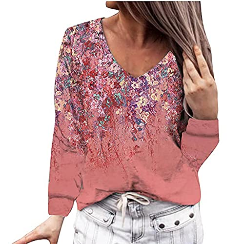 Camiseta de manga larga para mujer, cuello en V, básica, para otoño e invierno, con estampado de flores, para adolescentes, adolescentes, estilo informal, Vino, S